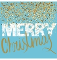 Merry Christmas grunge lettering design on blue vector image vector image