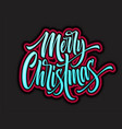merry christmas hand lettering with neon outline vector image