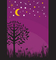 midnight silhouette tree grass moon and stars vector image vector image