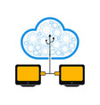 pair of computers connected to cloud technology vector image vector image