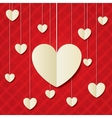Paper hearts red background Valentines day card vector image vector image