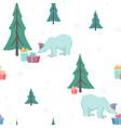 polar bear gift box xmas tree green blue white vector image vector image