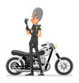 policeman motorcycle adjusts glove bike icon vector image