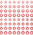 Red star shape set vector image vector image