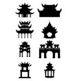 set of ancient buddhist temples silhouette vector image