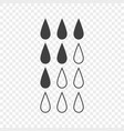 set of icons showing the level of liquid in the vector image