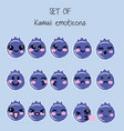 set of kawaii emoticons cute blueberry vector image vector image