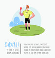 soccer cartoon referee poster placard vector image vector image