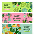 succulents banners set vector image vector image