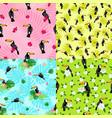 toucan pattern set flat style vector image