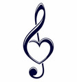 treble clef with heart vector image