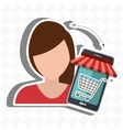 User ecommerce smartphone isolated icon design vector image