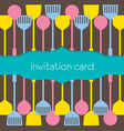 Utensils Pattern Invitation Card vector image vector image