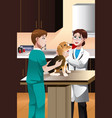 veterinarian examining a cute dog vector image