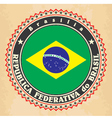 Vintage label cards of Brazil flag vector image vector image