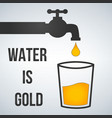 water is gold motivation water tap and glass icon vector image vector image