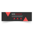 web header modern red triangle black background ve vector image
