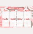 weekly calendar planner planning tasks vector image vector image
