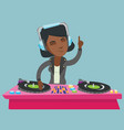 young african dj mixing music on turntables vector image vector image
