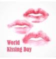Watercolor lips World Kissing Day vector image