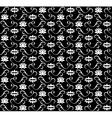 White lotus seamless pattern on black background vector image
