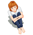 A lady sitting down vector image vector image
