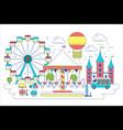 amusement park flat line vector image