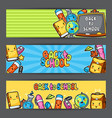 back to school kawaii banners with cute education vector image vector image