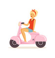 beautiful young woman riding vintage scooter girl vector image