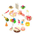 birthday party icons set isometric style vector image