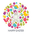 bunny and eggs easter holiday celebration symbolic vector image