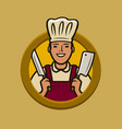 butcher shop logo or label chef with knives vector image vector image