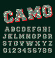 camo alphabet font template letters and numbers vector image vector image