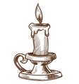 candle and candlestick retro interior decor vector image