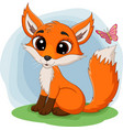 cartoon happy fox sitting on grass vector image vector image