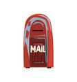 cartoon style icon of old shabby mailbox red vector image