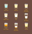 coffee to go drinks recipe set vector image vector image