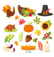 colorful thanksgiving symbols vector image vector image