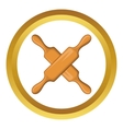 Crossed wooden rolling pins icon vector image vector image