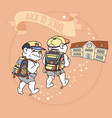 cute bear with backpack back to school vector image vector image