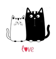 Cute cartoon black cat boy and white girl Kitty vector image vector image