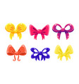 cute colorful glossy bows set user interface vector image vector image