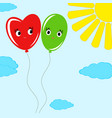 cute smiling isolated colored balloons on a blue vector image vector image