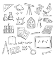Education icons with school supplies and equipment vector image