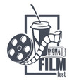 film fest banner with filmstrip and soft drink vector image vector image