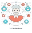 Flat line Social Network Concept vector image vector image