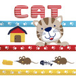 funny cat cartoon with twin mouse vector image vector image