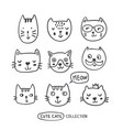 Funny doodle outline cats faces collection