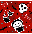 Funny halloween characters seamless pattern vector image