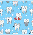 funny teeth cartoon pattern isolated from vector image vector image